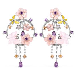 Jardin Collection Pearl and Multi Gemstone Floral and Butterfly Earrings in Gold Plated Silver
