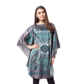 Dark Grey Colour Poncho with Floral Pattern (Size 113x94 Cm)