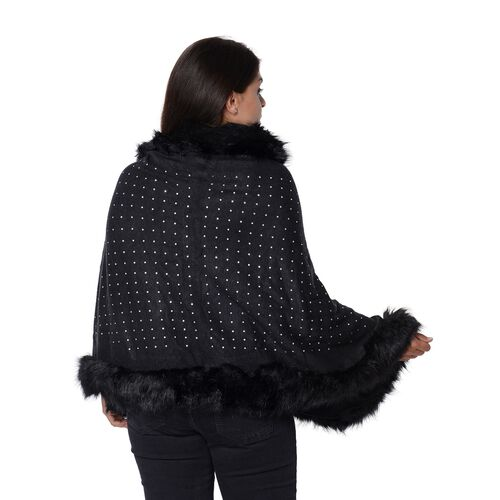 Solid Colour Crystal Blanket Wrap with Faux Fur Border (Size 56x142+7.6 Cm) - Black