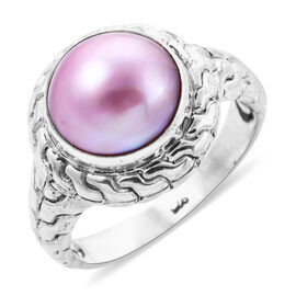 Royal Bali Pink Mabe Pearl Solitaire Ring in Sterling Silver