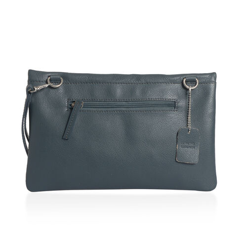 Genuine Leather Dark Grey Colour Sling Bag with External Zipper Pocket and Adjustable Shoulder Strap