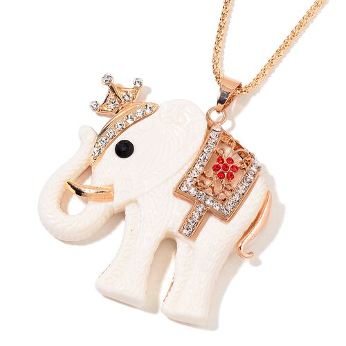 AAA Multi Colour Austrian Crystal and Simulated White Shell Elephant Pendant With Chain in Yellow Gold Tone