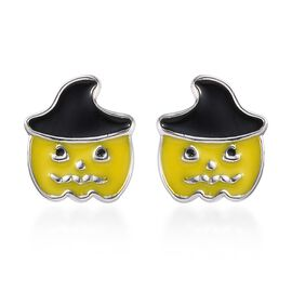 Platinum Overlay Sterling Silver Enamelled Pumpkin with Witch Hat Kids Stud Earrings (with Push Back