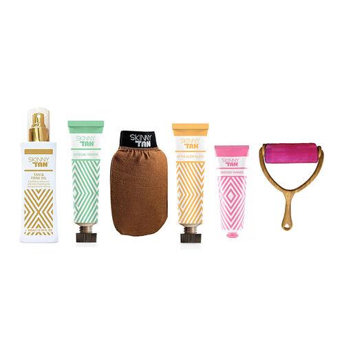 Skinny Tan Body: Tan & Tone Oil Medium - 145ml, Tan & Tone Oil Dark - 145ml, After Glow Gloss- 125ml, Exfoliating Mitt, Shimmer Instant Bronzer - 125ml, Gradual Tanning Lotion - 125ml & Roller
