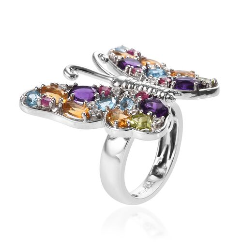GP Amethyst (Ovl), Blue Sapphire and Multi Gemstone Butterfly Ring in Platinum Overlay Sterling Silver 4.47 Ct, Silver wt 8.21 Gms