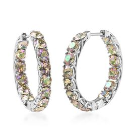J Francis - Crystal from Swarovski Mystic Colour Crystal (Rnd) Hoop Earrings (with Clasp) in Platinu