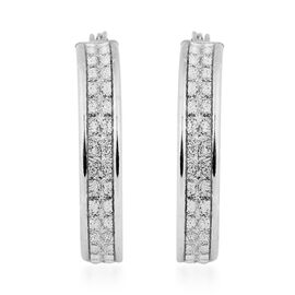 NEW YORK DESIGNER CLOSE OUT DEAL- Simulated Diamond Sterling Silver Creole Hoop Earrings