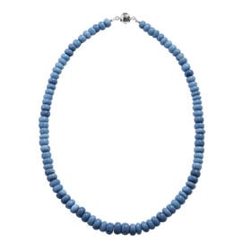 Extremely Rare AAA Peruvian Blue Opal Necklace (Size 18) with Magnetic Lock in Rhodium Overlay Sterl