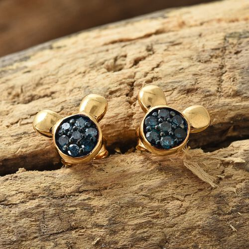 0.33 Ct Blue Diamond Cartoon Face Cluster Stud Earrings in Gold Plated Silver with Push Back