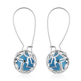 Simulated Blue Cats Eye Detachable Drop Earrings in Silver Tone