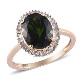 Limited Available 9K Y Gold Russian Diopside (Ovl 10x8mm) and Diamond Ring 2.950 Ct.