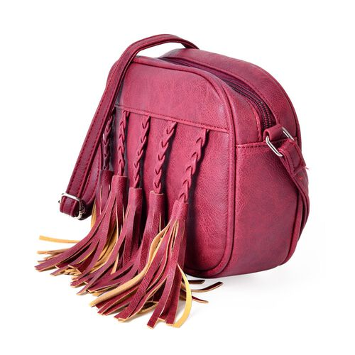 Sienna Summer Berry Colour Hand Braided Tassel Cross body Bag (Size 20x16x6.5 Cm)