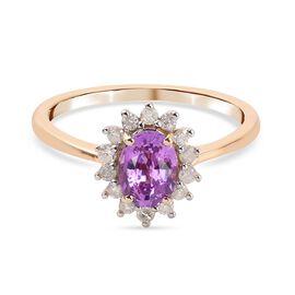 9K Yellow Gold Purple Sapphire and Diamond Ring 1.00 Ct.