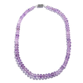 Very Rare Rose De France Amethyst (Rnd) Beads Necklace (Size 18) with Magnetic Lock in Rhodium Plate