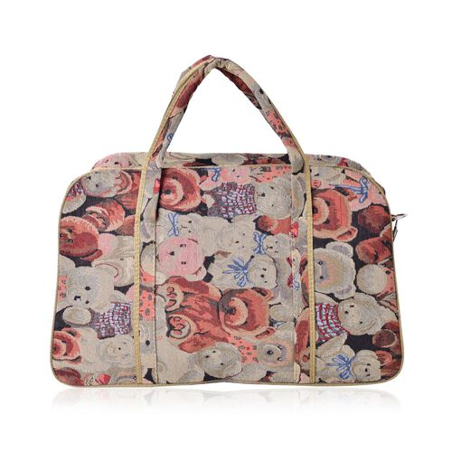 Teddy Bear Pattern Light Weight Weekend Bag with an External Zipper Pocket and Removable Shoulder Strap (Size 50x33 Cm)