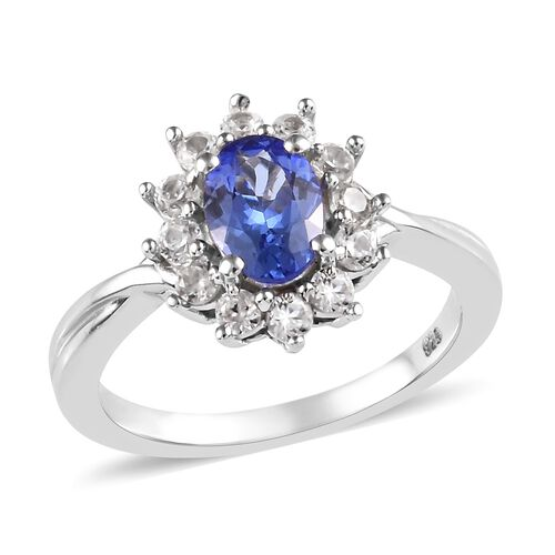 1.25 Ct AA Tanzanite and Cambodian Zircon Halo Floral Ring in Platinum Plated Sterling Silver