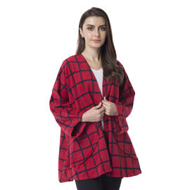 Super Chic and Versatile Chequered Print Cardigan With Pockets (Size 78x73 Cm) Red