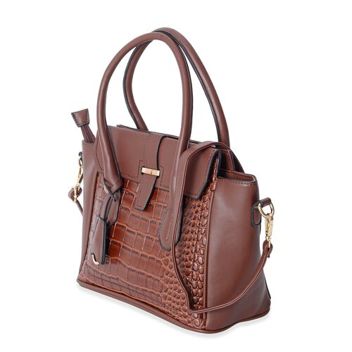 Close Out Deal Italian Tan Crocodile Pattern Tote Bag with Removable Shoulder Strap and External Zipper (Size 40x32x24x14.5 Cm)