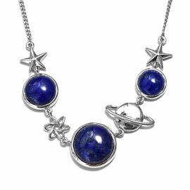 Lapis Lazuli (Rnd) Necklace (Size 18) in Platinum Overlay Sterling Silver 24.00 Ct, Silver wt 14.79