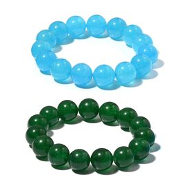 Set of 2- Aquamarine and Green Color Quartzite (Rnd) Beads Bracelet 548.000  Ct.