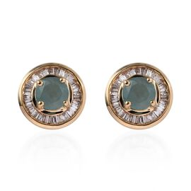 9K Yellow Gold AA Grandidierite (Rnd), Diamond Stud Earrings (with Push Back) 1.65 Ct.