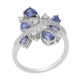 ELANZA AAA Simulated Tanzanite, Simulated Diamond Ring in Rhodium Overlay Sterling Silver