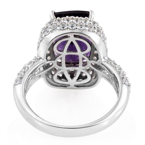 Lusaka Amethyst (Cush 7.00 Ct), Natural Cambodian Zircon Ring in Platinum Overlay Sterling Silver 10.250 Ct. Silver wt 6.08 Gms. Number of Gemstone 111
