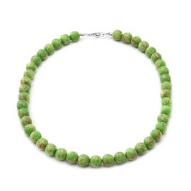Green Imperial Jasper Beads Necklace (Size 18) in Sterling Silver 250.00 Ct.