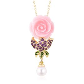 Jardin Collection - Pink Mother of Pearl, Freshwater Pearl, Amethyst and Russian Diopside Pendant Wi