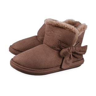 Womens Comfy Winter Bootie Slippers with Bow - Dark Brown (Size 3)