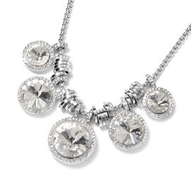 Simulated Diamond and White Austrian Crystal Necklace (Size 20 with 2 inch Extender) in Silver Plate