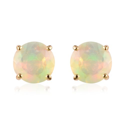 9K Yellow Gold Ethiopian Welo Opal Solitaire Earrings (with Push Back) 1.50 Ct.
