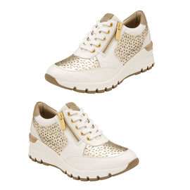 Lotus Shakira Leather Casual Trainers (Size 3) - White & Gold