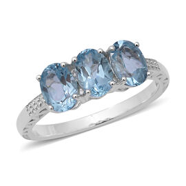 Sky Blue Topaz (Ovl) Trilogy Ring in Sterling Silver 2.730 Ct.