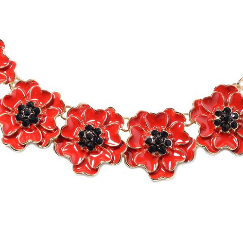 TJC Poppy Design - Black Austrian Crystal (Rnd) Enamelled Poppy Flower Necklace (Size 19.5 with 2.5 inch Extender) in Gold Plated