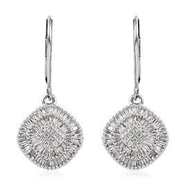 9K White Gold SGL Certified Diamond (Bgt) (I3/G-H) Lever Back Earrings 0.75 Ct.