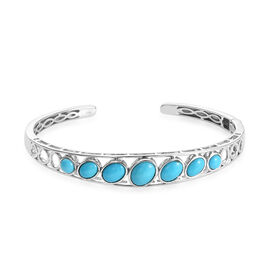 Arizona Sleeping Beauty Turquoise (Ovl, Rnd) Cuff Bangle (Size 7.5) in Platinum Overlay Sterling Sil