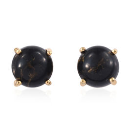 Arizona Mojave Black Turquoise (Rnd) Stud Earrings (with Push Back) in 14K Gold Overlay Sterling Silver 5.000 Ct