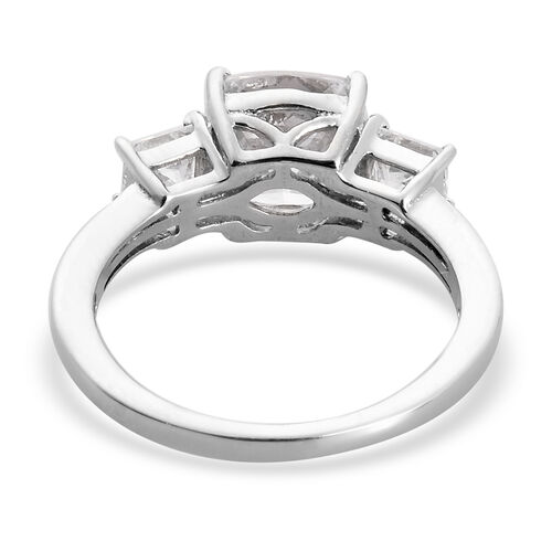 J Francis Platinum Overlay Sterling Silver Ring Made with SWAROVSKI ZIRCONIA 5.98 Ct.