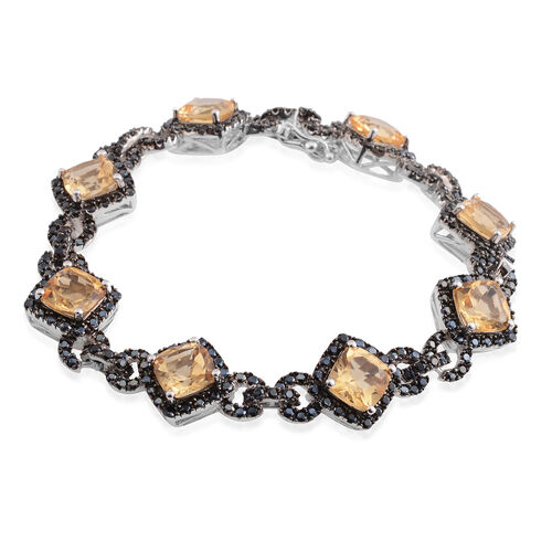 Citrine (Cush), Boi Ploi Black Spinel Bracelet (Size 7) in Black Rhodium Plated Silver 20.910 Ct. Silver wt 14.00 Gms. Number of Gemstone 272
