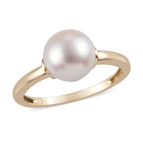 9K Yellow Gold Freshwater Pearl Solitaire Ring