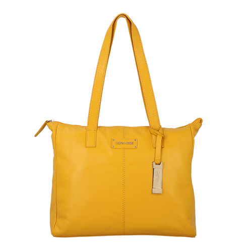UNION CODE - 2 Piece Set 100% Genuine Leather Tote Bag (Size 33x12.5x27.5 Cm) with Zipper Closure an
