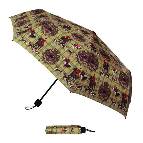 Signare Tapestry - 2 Piece Set - Hunting Print Shopping Bag (30X13X29cm) and Umbrella in Camel Colour