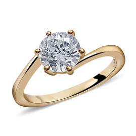 J Francis Made with Swarovski Zirconia Solitaire Ring in 9K Gold 1.5 Grams