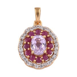 3 Carat Kunzite and Burmese Ruby with Cambodian Zircon Halo Pendant in Gold Plated Sterling Silver