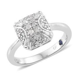 GP Diamond (Rnd), Kanchanaburi Blue Sapphire Ring in Platinum Overlay Sterling Silver 0.270 Ct.