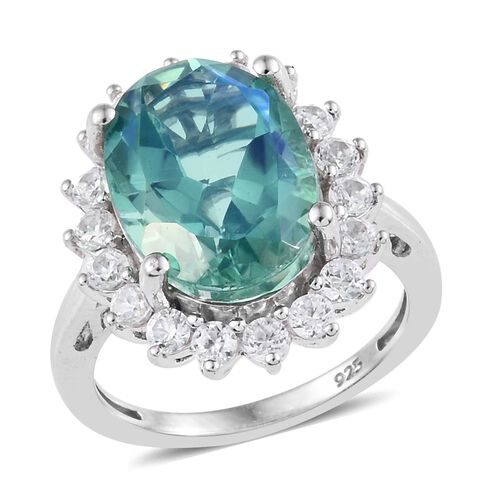 Peacock Quartz (Ovl), Natural Cambodian Zircon Ring in Platinum Overlay Sterling Silver 7.00 Ct.