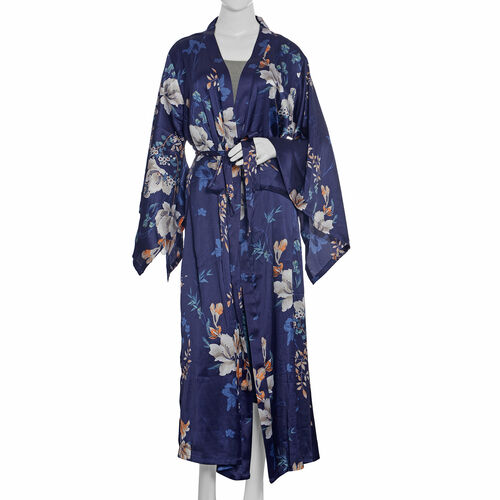 Navy Blue and Multi Colour Floral Pattern Robe (Free Size)