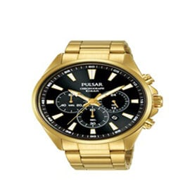 Pulsar Mens Black Dial Gold Plated Bracelet Chronograph Watch - 100M