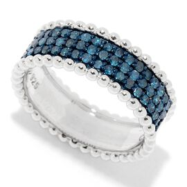 0.50 Carat Blue diamond Half Eternity Ring in Sterling Silver 4.64 Grams